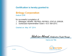 AXEIUM Scurescripts Certification for Prescription Routing
